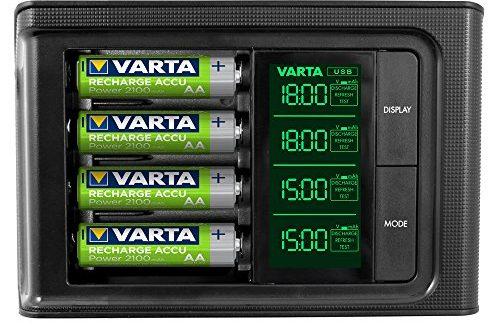 VARTA LCD SMART Charger inkl. 4x 56706 ReadytoUse AA Akkus Ladegerät für AA/AAA Micro/Mignon mit USB Anschluss Erhaltungsladung Einzelschachtladung 4 Mod (Design kann abweichen)